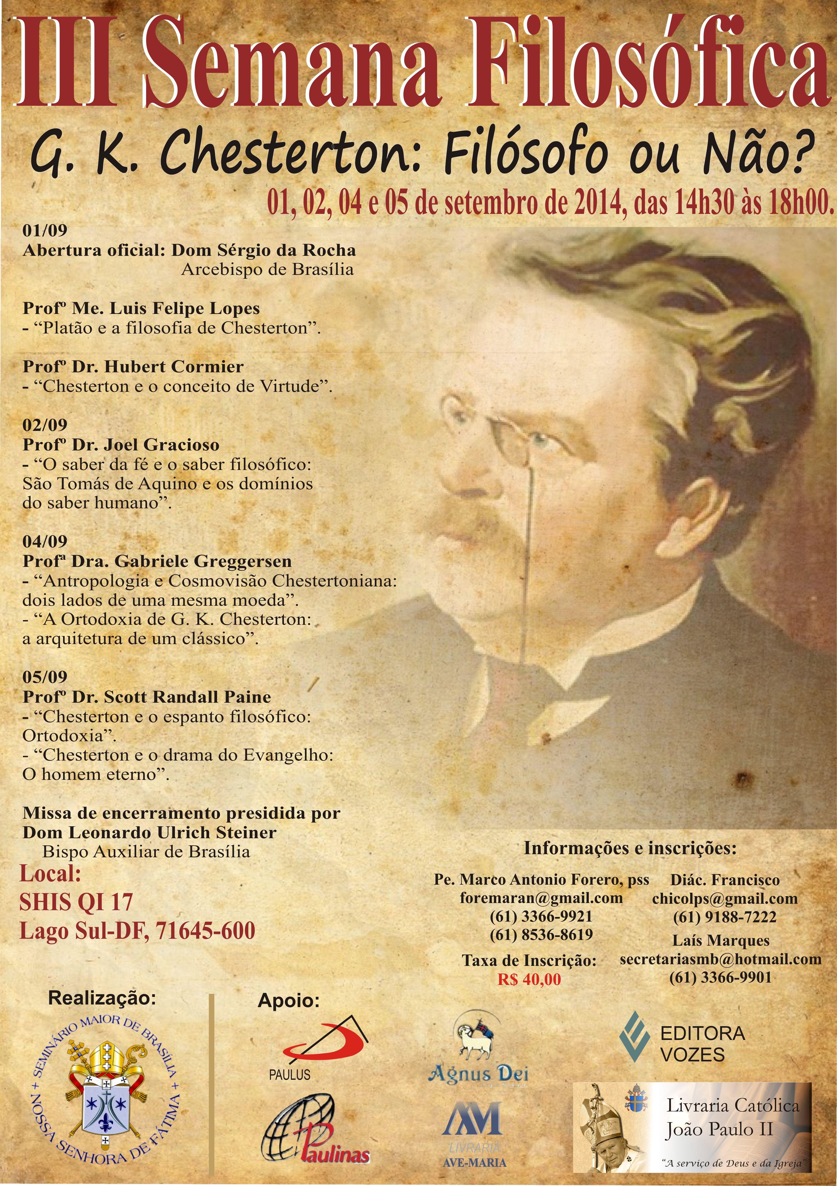 """III Semana Filosófica em Brasília terá como tema """"Chesterton: filósofo ou não?"""""""
