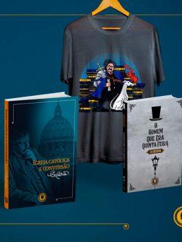 Livro Igreja Católica e Conversão + Homem que era Quinta-feira + Camiseta